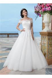 turmec off the shoulder wedding dress with lace sleeves