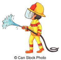 clipart vector of illustration of a fireman holding a fire