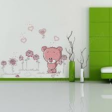 cartoon pink bear wall sticker home decor kid room decoration