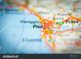 Italy On Map Macro View Pisa Italy On Mapvignette Stock Photo 350092571
