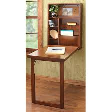 furniture brown wooden fold down wall desk with shelf combined