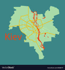 Kiev Map Map Of The Districts Of Kiev Ukraine Flat Vector Image