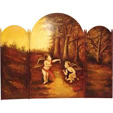 antique handpainted fireplace screen with cherubs from