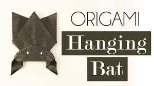 origami hanging bat for halloween tutorial diy