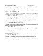 stoichiometry worksheet name stoichiometry worksheet mole mole
