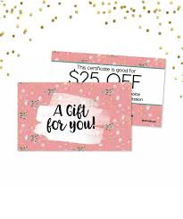 gift card business 25 gift certificate a set business card size gift