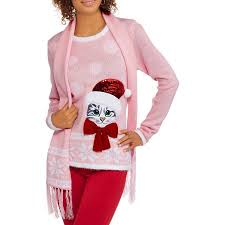 sweater walmart s sweater with scarf sassy cat