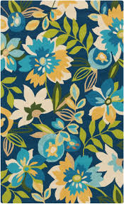 colorful area rug inspired by tropical flowers in aqua blue yellow