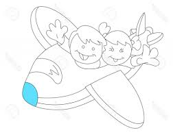 sketch drawing for kids happy kids in plane sketch royalty free