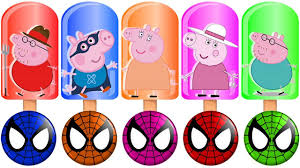 color learn ice cream fat pig animals hammer wooden face spiderman