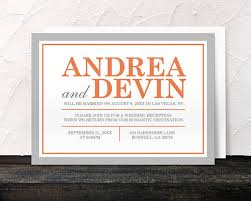 reception only invitations orange gray reception only invitations and rsvp printed