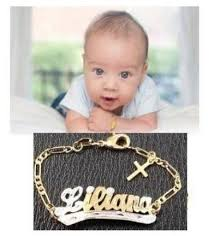 baby gold bracelet with name baby girl boy personalized 14k gold overly any name id bracelet
