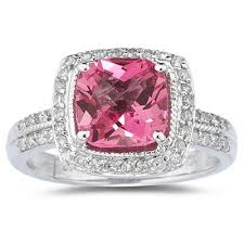 pink gemstones rings images 2 50 carat cushion cut pink topaz and diamond ring in 14k white gold jpg
