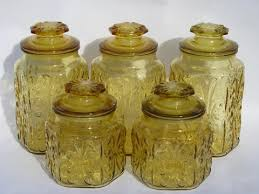 glass canisters for kitchen vintage kitchen canisters amber glass canister jars set w i