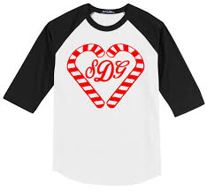 name style design candy cane monogram or name design on a 3 4 sleeve baseball style