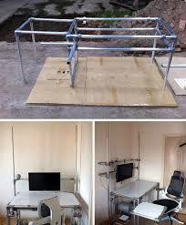 pipe desk with shelves diy home office made from metal pipes apartment therapy