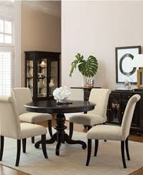 beige wall color and elegant wooden sideboard using chic dining