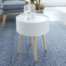 bout de canape table d appoint bout de canapé ronde scandinave laqué blanc