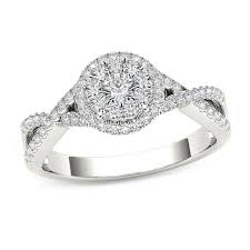 twisted shank engagement ring 1 2 ct t w frame twist shank engagement ring in 14k