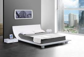 Curved Bed Frame Low Profile White Platform Bedroom With Stylish Curved Headboard