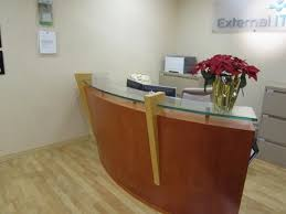 Reception Station Desk Used Curved Reception Station This Curved Veneer A Linear