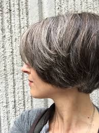 Color For Gray Hair Enhancing Makeover Gray Blending Asymmetrical Bob Hair Color Bob Hair