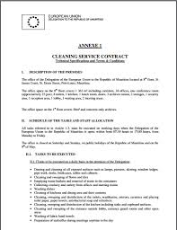 cleaning contract template free sample templates