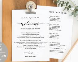 wedding itinerary template etsy