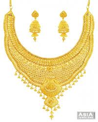 gold bridal set bridal yellow gold necklace set 22k ajst57660 22k yellow gold