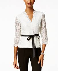 sleeve lace blouse alex evenings scalloped lace blouse tops macy s