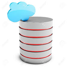 3d database server with cloud on white background stock photo