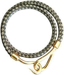 gold chain leather bracelet images Herm s grey black gold jumbo hook double wrap leather bracelet jpg