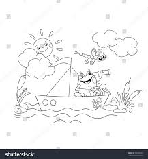 coloring page outline jolly frog floating stock vector 336598739