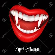vampire smile with fangs halloween vector illustration royalty