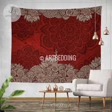 Bohemian TAPESTRY Burgundy Red & Tan vintage mandala Wall hanging