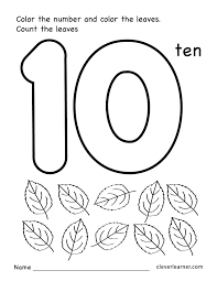 Worksheets For Kindergarten Printable Number Ten Writing Counting And Identification Printable
