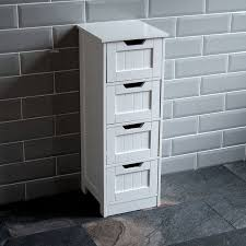 White Bathroom Storage Cabinet With Drawer Home Discount Bathroom 4 Drawer Floor Standing Cabinet Unit