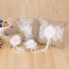 wedding supplies 4pcs set vintage rustic burlap wedding supplies flower girl basket