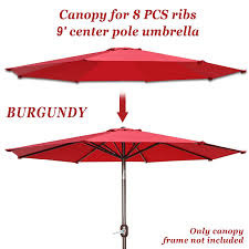 Patio Umbrella Canopy Replacement 8 Ribs by Amazon Com Replacement Patio Umbrella Canopy Cover For 9ft 8