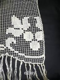 pair of antique italian lace curtains with embroidery and fringe