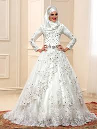 islamic wedding dresses luxurious beading sleeve arabic muslim wedding dress