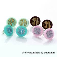 monogram earrings monogram jewelry 16mm post earrings mint acrylic clover disc blank