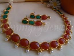 necklace red stone images Red and green kemp stones necklace with earrings smingry jewels jpg