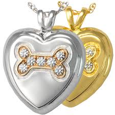 pet ashes jewelry dog bone heart with stones cremation jewelry