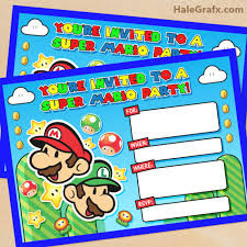 free printable super mario bros birthday party invitation super
