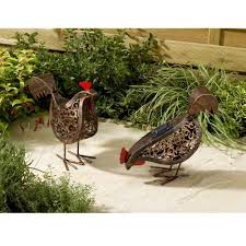 hens solar light pack of 2 co uk garden outdoors