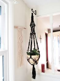 macrame plant hanger black macrame hanging planter pot holder