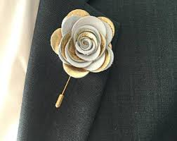 Gold Boutonniere Gold Lapel Flower Etsy