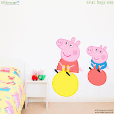 peppa and george on space hoppers wall sticker stickerscape uk peppa and george on space hoppers wall sticker