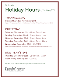 hours thanksgiving new years all locations